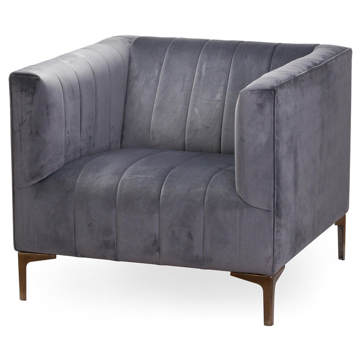 Emperor Grey Velvet Arm Chair luxurious occasional arm chair