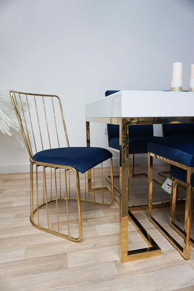 Blue and gold DOHA wired dining chair x2 gold wire