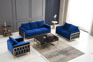 QATAR Blue velvet and gold sofa settee couch
