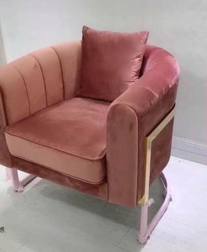 Velvet modern gold and blush pink occasional chair