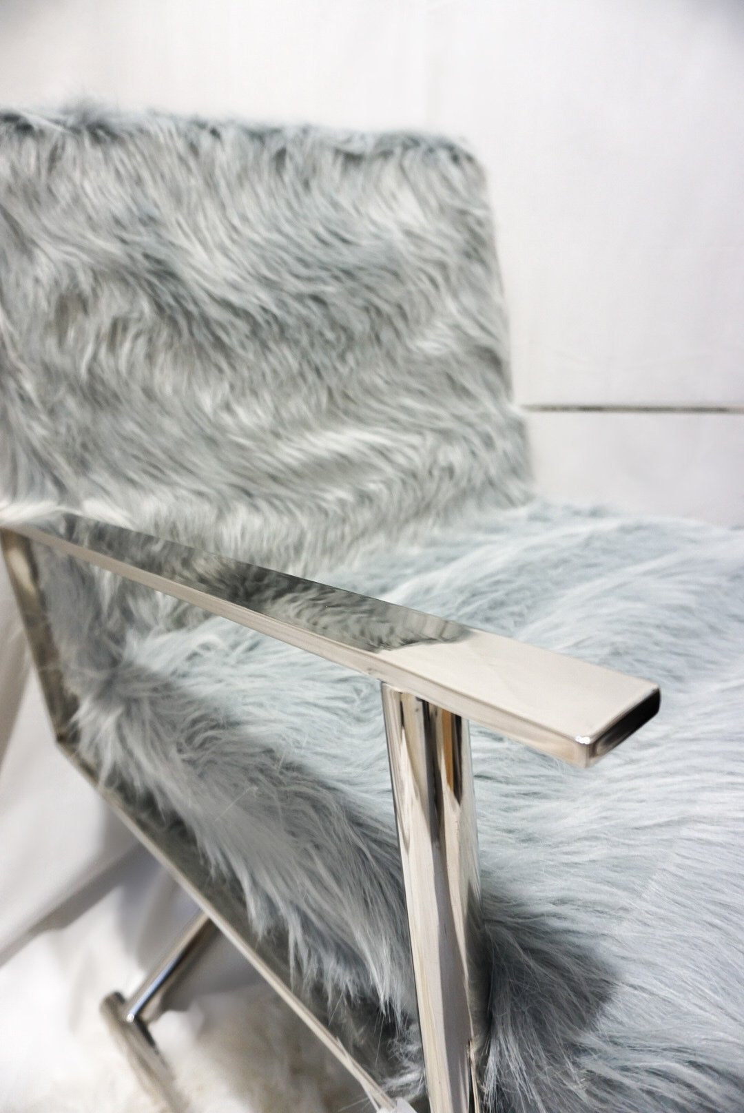 Faux sheepskin fur directors chair dressing room chair Grey/Silver