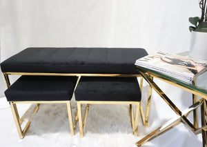 Black and gold DOHA bench and stools seat set