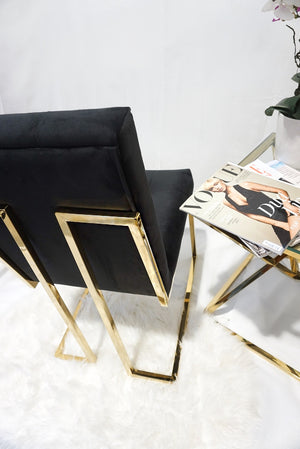 Black and gold pair of DOHA square dining chairs modern gold polished legs fabric finish
