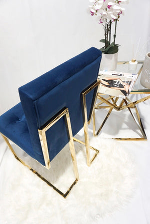 Blue and Gold pair of DOHA square dining chairs modern gold polished legs fabric finish