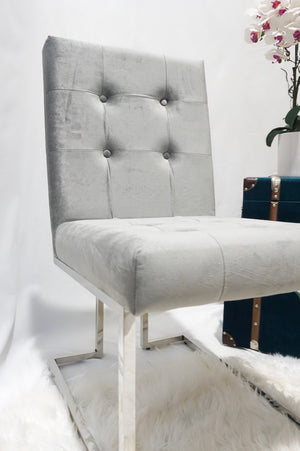 Silver and grey pair of DOHA square dining chairs modern silver polished legs fabric finish