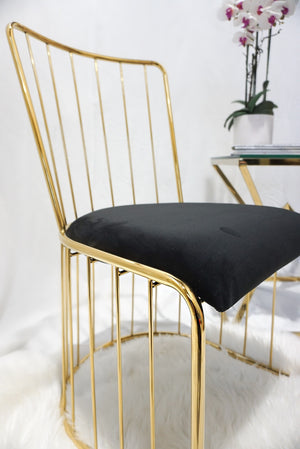 Black and gold DOHA wired dining chairs x2 gold wire