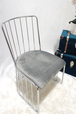 Grey and silver DOHA wired pair of dining chairs x2 silver wire
