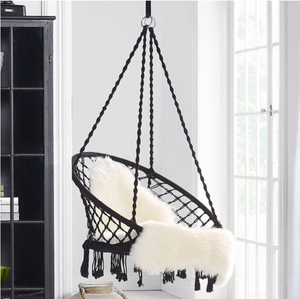 Hanging woven rope hammock chair swing seat