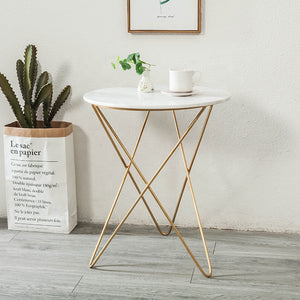 Marble effect and geo metal side table lamp table black gold