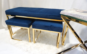 Blue and gold DOHA dining bench and stools seat set
