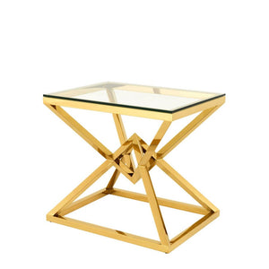 GEO glass top side table bedside table with gold metal geo metallic base