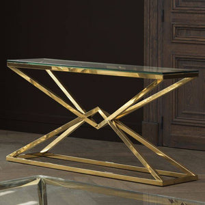 Console GEO gold glass lamp console table stainless steel
