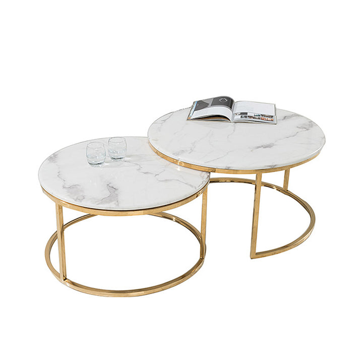 DUO Nesting Coffee Tables White marble effect top center table gold stainless steel coffee table