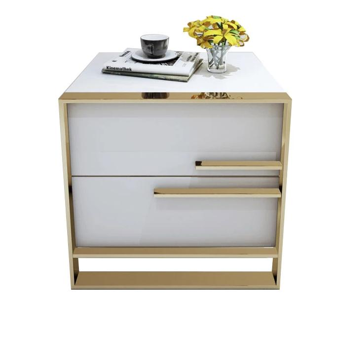 QATAR White gloss and gold bedside table with drawers