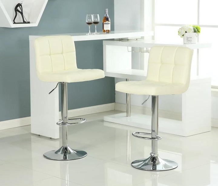 Pair of PU Faux leather bar stools with chrome adjustable height