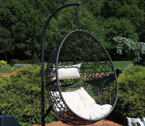 Hanging Egg Chair Single Swing Seat - black with ivory cushion