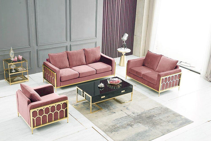 QATAR Blush velvet and gold sofa settee couch