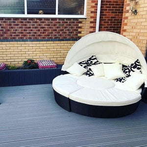 Rattan Effect Day Bed - Table Lounger + Sun Bed