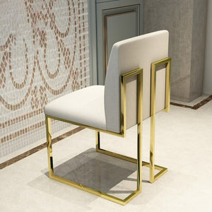 Kuwait Chairs Modern White gold polished legs linen finish