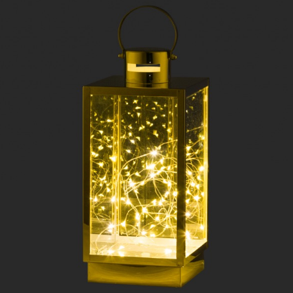 Large Brass Lantern With Led Micro Lights