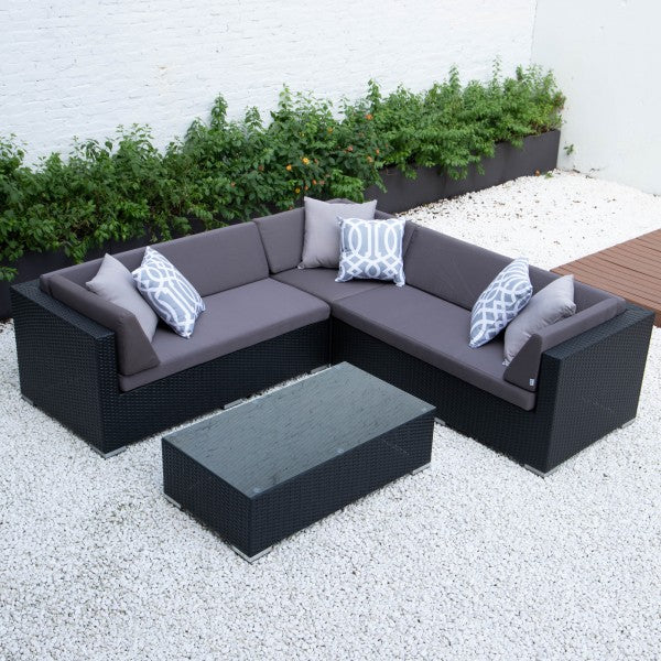 Kairo Outdoor sofa Medium L set table wicker rattan aluminium garden furniture