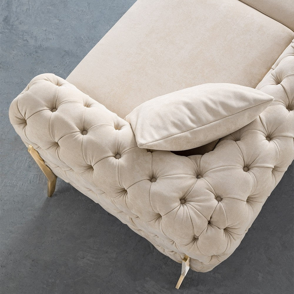 Mocha Velvet BRIQ Contemporary Chesterfield sofa velvet tufted couch velvet samar sectional sofa