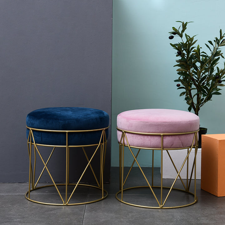Nordic Stackable Small Round Stool Blue Velvet Upholstered with Gold Plating Base Footstool Rest Extra Seat