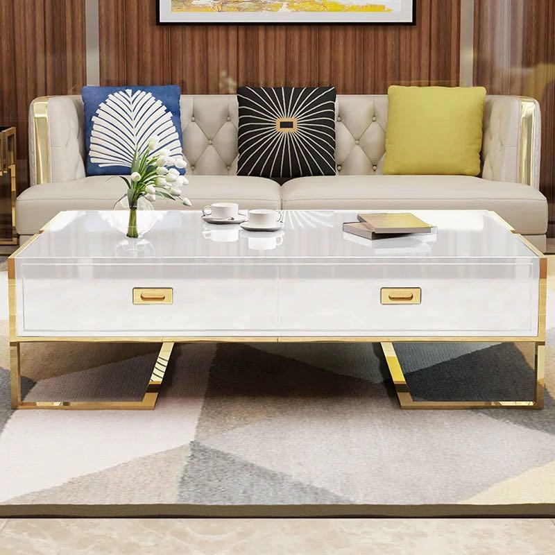 QATAR Coffee Table With Glass Top in White Gold