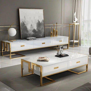 QATAR Coffee Table With Glass Top in White Gloss & Gold