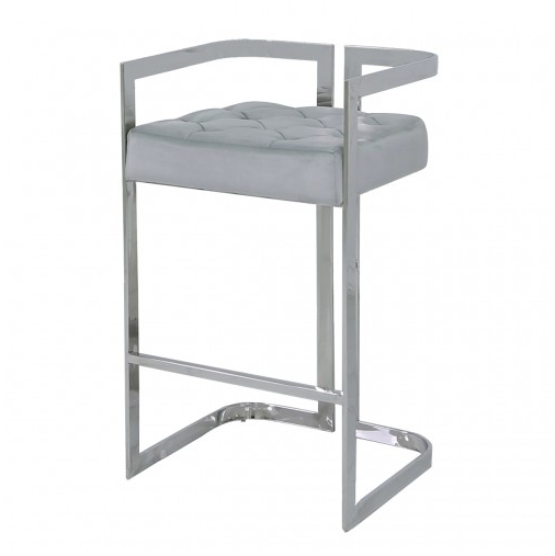 Stainless Steel Bar Stool With Grey Velvet Seat