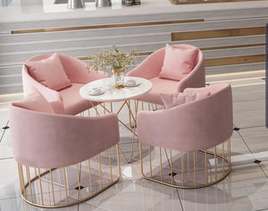 Piper blush pink velvet dining occasional chair with gold polished legs