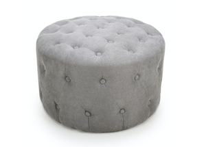 Verona Small Round Brushed Velvet Light Grey Pouffe Foot Stool Ottomans
