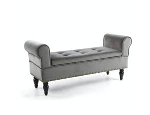 Downtown Storage Brushed Velvet Grey Ottoman