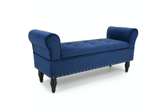 Downtown Storage Brushed Velvet Ocean Blue Ottoman