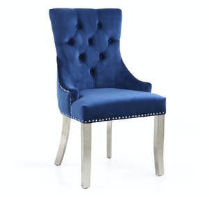Pair of Chester Brushed Velvet Ocean Blue Dining Accent Chair