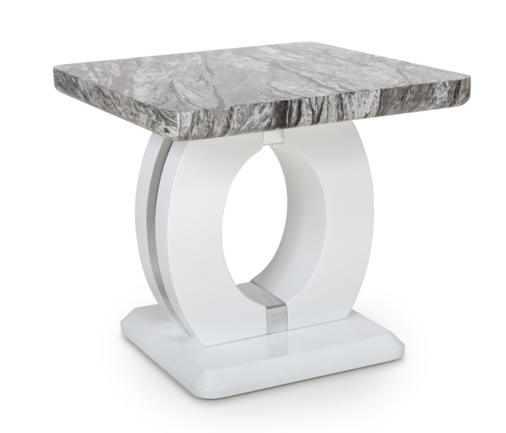 Neptune Marble Effect Top High Gloss Grey/White Lamp Table