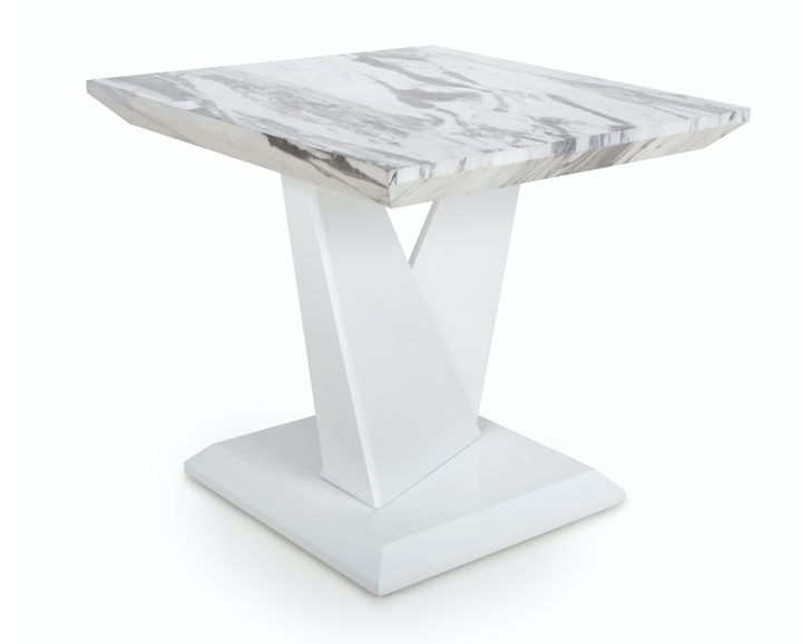 Saturn Marble Effect Top High Gloss Grey/White lamp side tables