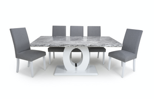 Neptune Large Marble Effect Top High Gloss Grey/White Dining Table