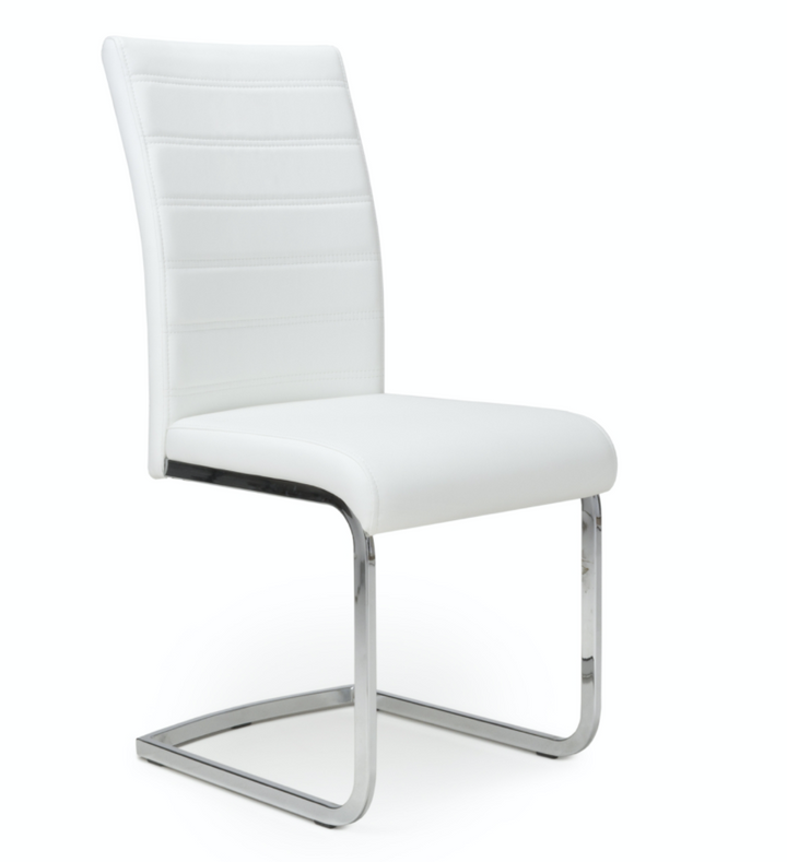 Pair of Callisto Leather Effect White Dining Chairs