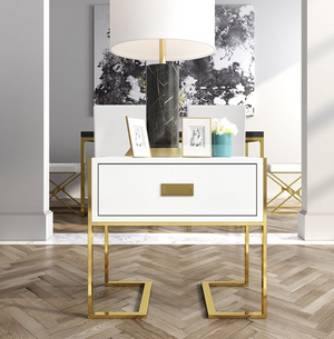 Qatar high gloss side table bedside table with gold polished legs in White or  Black