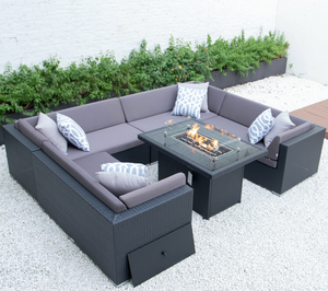 Kairo Outdoor sofa set  U Shape table wicker rattan aluminium garden furniture