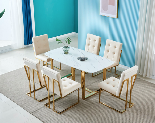 DOHA marble top dining table with gold legs 6 seater