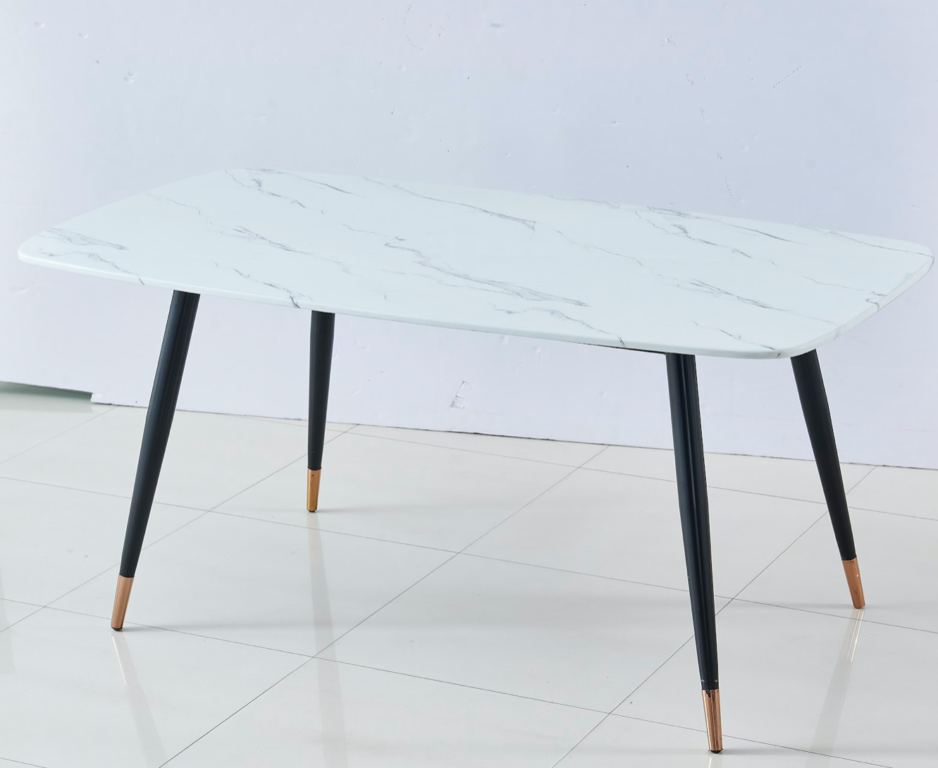 DOHA rectangle marble top dining table with powder coating black and gold legs