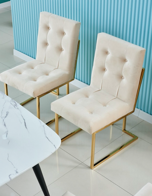 Ivory and gold pair of DOHA square dining chairs Modern gold polished legs fabric finish