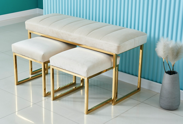 Ivory and gold dining bench and stools seat set