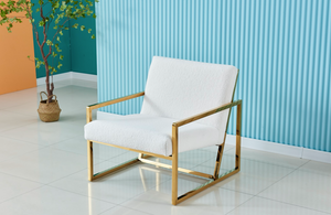 BRIQ Boucle White Armchair with gold polished frame occasional chair