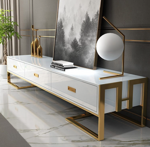 Qatar tv stand unit White high gloss and gold