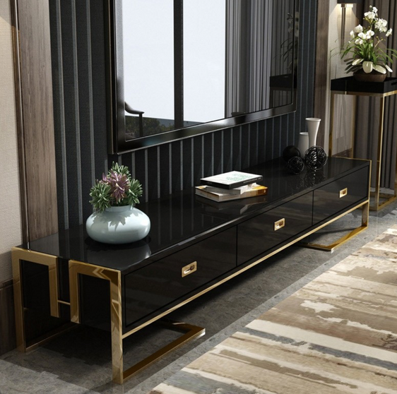 Qatar tv unit stand in black gloss and gold
