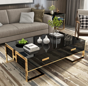 QATAR Coffee Table With Glass Top in Black Gold