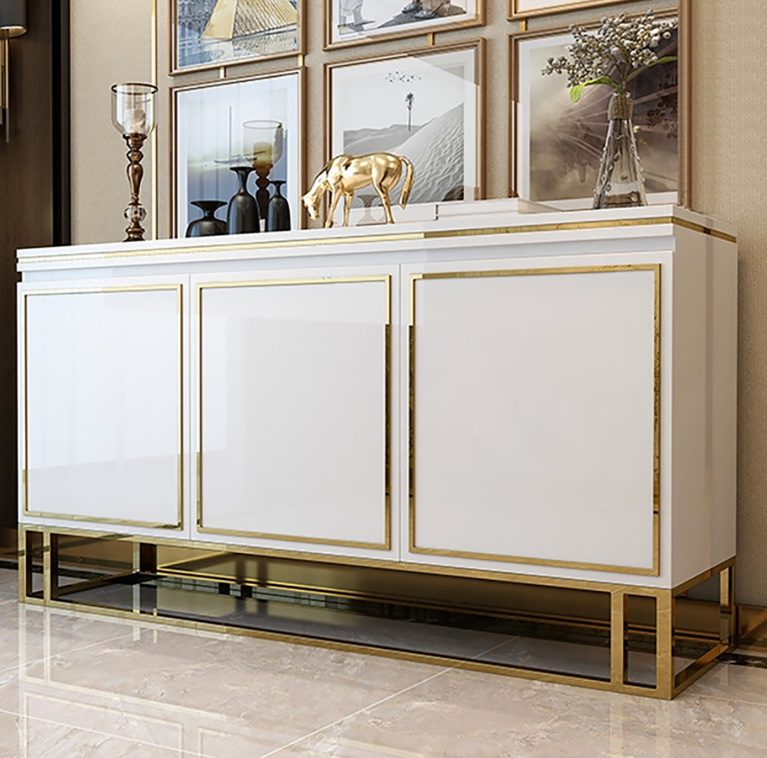 QATAR White Gold Gloss Sideboard console cabinet Table